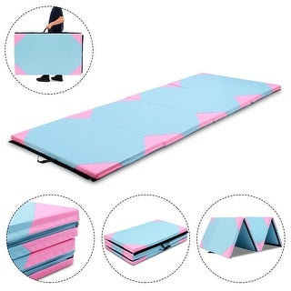 Gymax 4'x10'x2'' Gymnastics Mat Thick Folding Panel Gym Fitness Exercise Pink & Blue