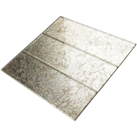 """TileGen. 4"""" x 12"""" Glass Subway Tile in Gold Wall Tile (30 tiles/10sqft.)"""