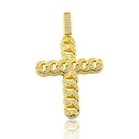 Sterling Silver Cross Charm Chain Cuban Style 49mm Tall Yellow Gold-Tone By MidwestJewellery