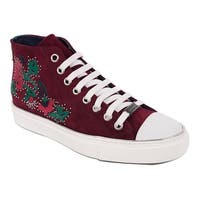 Roberto Cavalli Women Red Floral Embellished High Top Sneakers