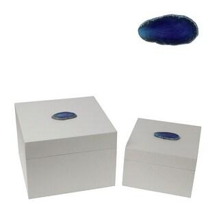 Privilege 2 Piece Square Boxes - Agate, Blue