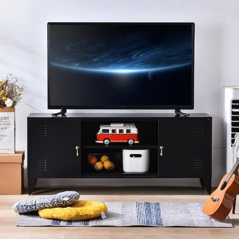 Black TV Stand with 3 storage shelf,TV cabinet For TV Up to 55Inch