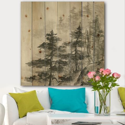 Designart 'Asian Forest' Cabin & Lodge Print on Natural Pine Wood - Grey