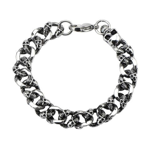 INOX Jewelry Men's Stainless Steel Skulls Curb Chain with Lobster Lock Bracelet