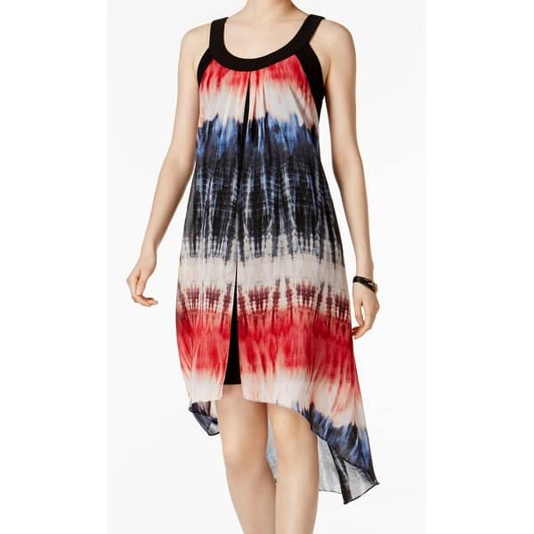 SLNY Black Flag Tie Dye Women's Size Large L Chiffon Sheath Dress