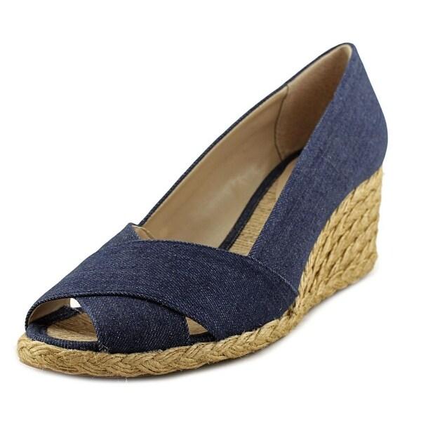 83c37f91f49c Shop Adrienne Vittadini Bailee Women Open Toe Canvas Blue Wedge Heel ...