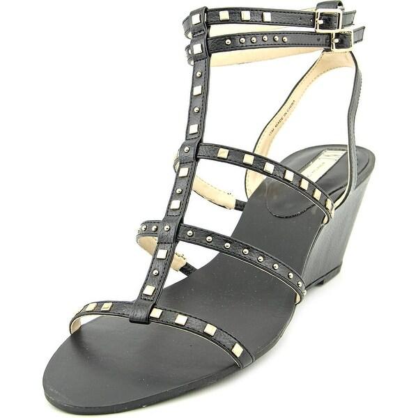 INC International Concepts Windye Women Open Toe Synthetic Black Wedge Sandal
