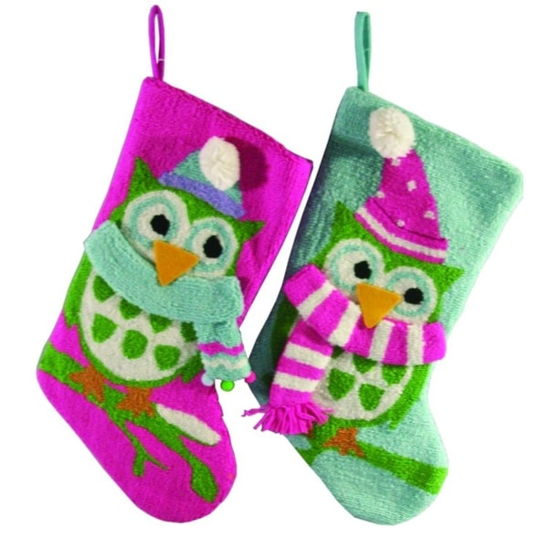 Pack of 4 Vivid Pink, Blue and Green Plush Wise Owl Christmas Stockings 19""