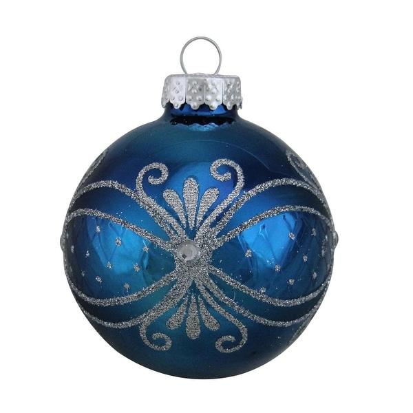 "4ct Shiny Blue with Silver Scroll Work Glass Ball Christmas Ornaments 2.5"" (65mm)"