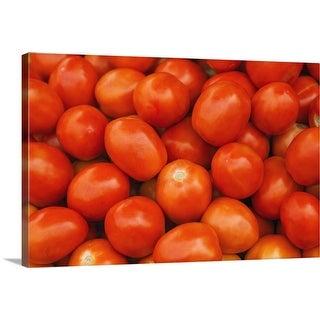 """Fresh ripe cherry tomatoes at farmers market"" Canvas Wall Art"