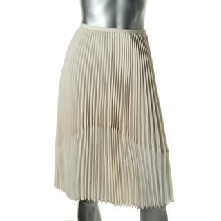 DKNYC Womens Chiffon Pleated Pleated Skirt