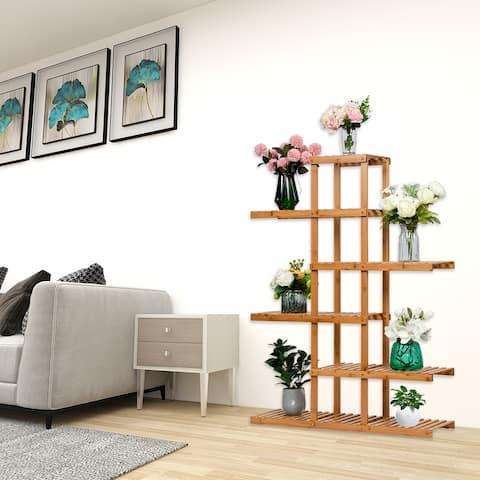 5 Floors 6/12 Seats Balcony Bamboo Frame Flower Frame Plant Stand