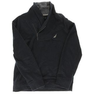 Nautica Mens Fleece Asymmetrical Funnel-Neck Sweatshirt