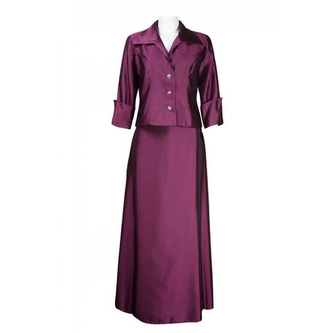 JS Collections 3/4 Sleeve Collared Neck Button Detail Skirt Set, Aubergine, 6