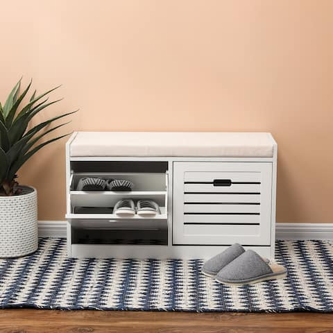 White Wood 8-Pair Shoe Storage Bench