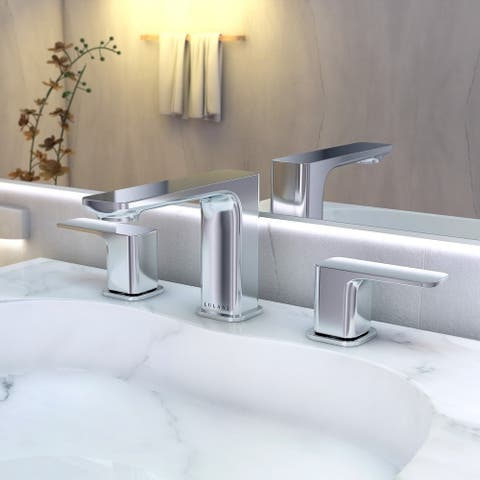 Corsica Collection. Widespread bathroom faucet. Chrome finish. By Lulani