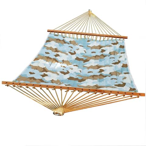 """82"""" x 55"""" Blue and Brown Large Floral Quilted Double Hammock"""