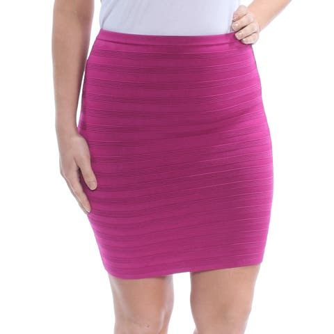 GUESS Womens Purple Zippered Pinstripe Above The Knee Pencil Party Skirt Size: L