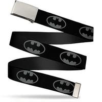 Blank Chrome  Buckle Batman Shield Black Gray Webbing Web Belt