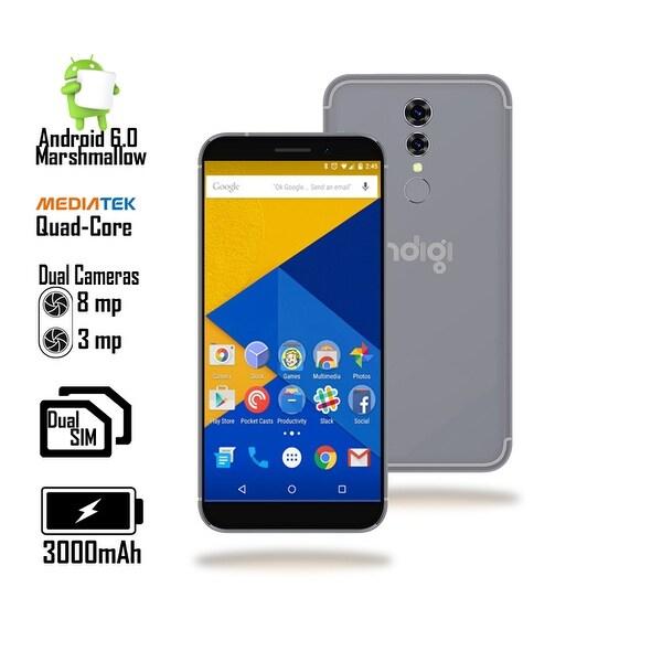 Indigi® Unlocked 4G LTE 5.6-inch Android 6.0 Marshmallow SmartPhone (Quad-Core 1.2GHz + Fingerprinter + 8MP CAM + 2SIM) Black
