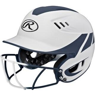 Rawlings Velo Senior 2-Tone Home Softball Helmet w/Mask-Navy - R16H2FGS-W/MN