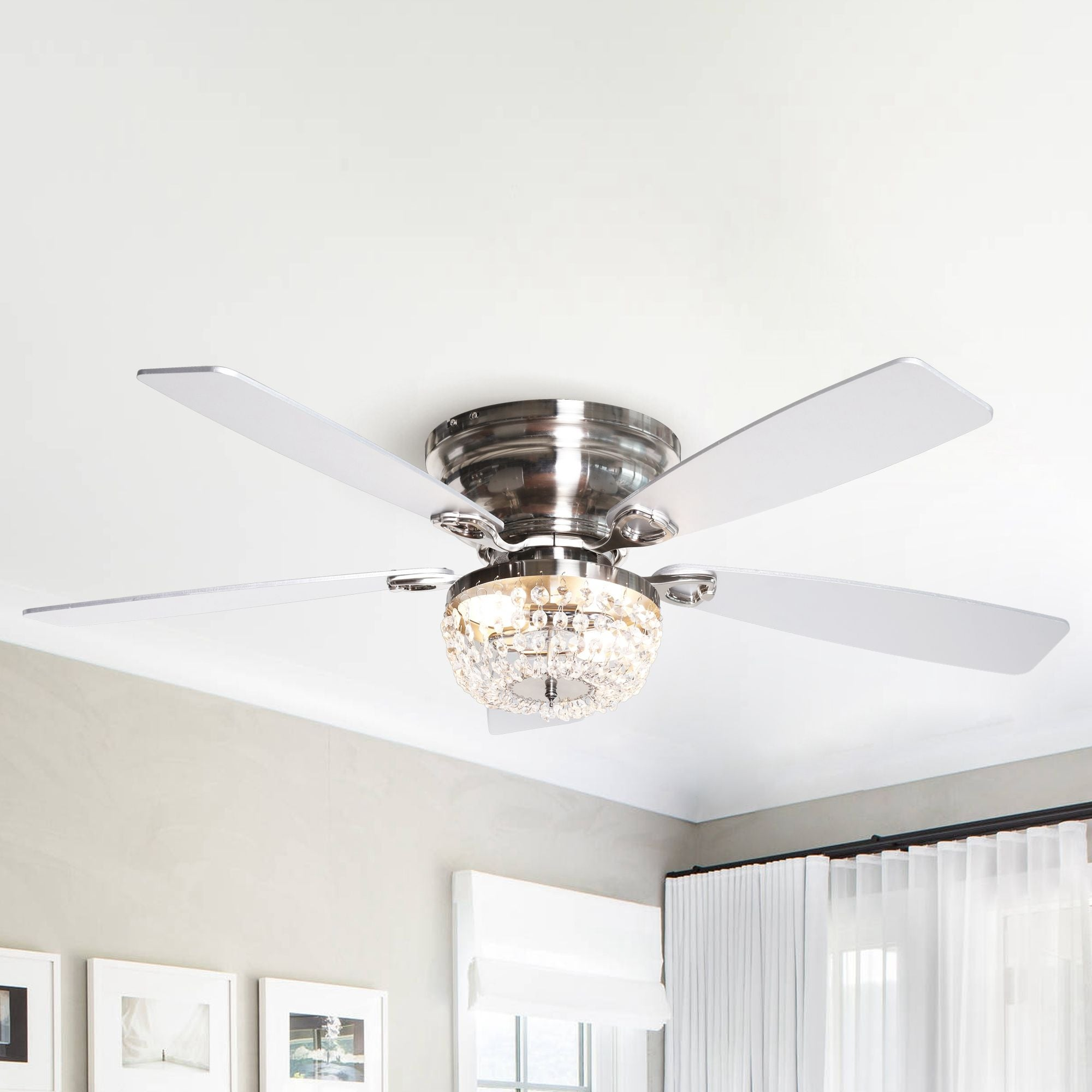 Shop Black Friday Deals On 48 Low Profile Crystal Indoor Ceiling Fan Overstock 31727470
