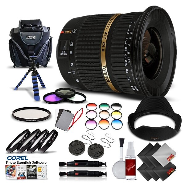Tamron SP AF 10-24mm f / 3.5-4.5 DI II Lens For Canon International Version (No Warranty) Pro Kit - black