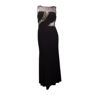 Ignite Women's Beaded Illusion Mesh Jersey Gown (14, Black) - 14