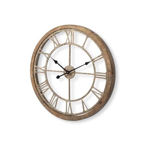 "Mercana Mething Light Brown 25"" Medium Farmhouse Wall Clock - 24.8L x 25.0W x 2.0H"