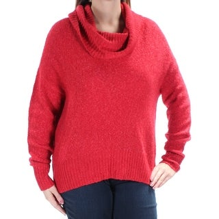 Womens Red Long Sleeve Cowl Neck Casual Sweater Size L