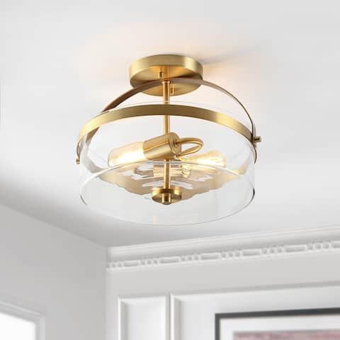 """SAFAVIEH Lighting Nensor LED 2-light Flush Mount - 13"""" W x 13"""" L x 10"""" H"""