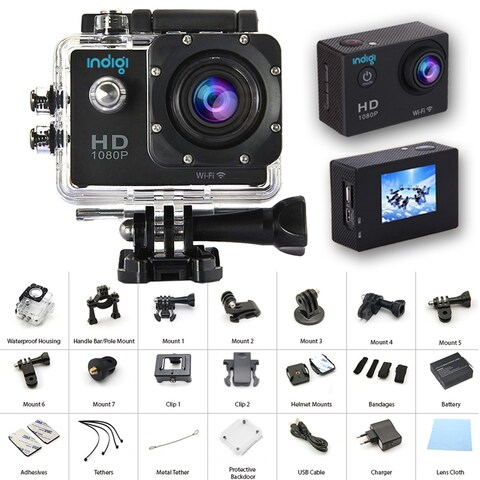 """Indigi NEW Waterproof Action Sports CAM - Photo(12MP) & Video Mode(4K/1080p/720p) - Wide Angle - All Mounts Included - 1.5"""" LCD"""