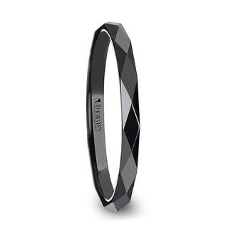 THORSTEN DAVINA Polished Diamond Faceted Black Ceramic Ring For Women 2 Mm