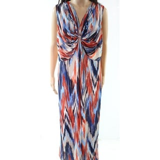 NY Collection NEW Beige Blue Ikat Print Women's Size 3X Plus Maxi Dress