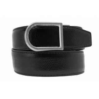Nexbelt Brixton Men's Black Lizard Embossed Leather Golf Dress Belt