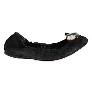 Dolce & Gabbana Black Taormina Lace Crystal Ballet Flat Shoes - 35