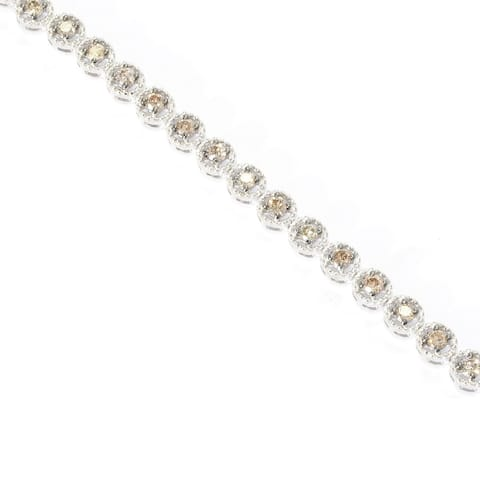 """Sterling Silver with Genuine Champagne Diamond Link Bracelet- 7.25"""""""