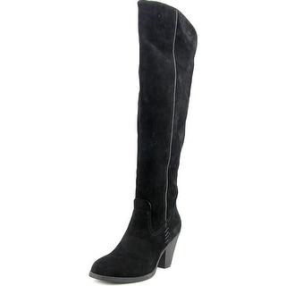 Mia Aubrey Women Round Toe Suede Black Over the Knee Boot