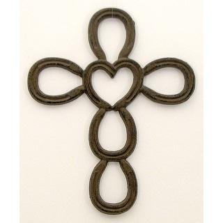 Cast Iron Horse Shoe Heart Cross