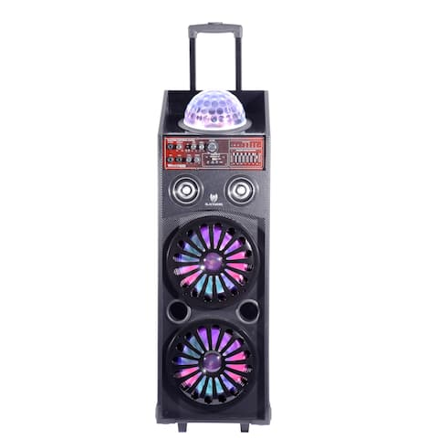 """Portable Powered 4-way Audio Entertainment System - Dual 10"""" Woofers, Bluetooth Connectivity, MP3 Playback and LED Illumination"""