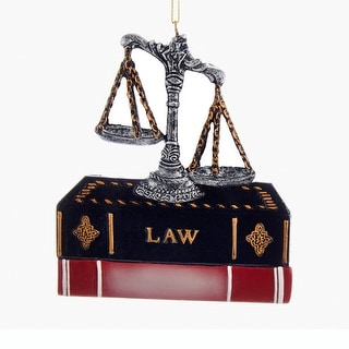 Kurt Adler Lawyer Attorney Scales of Justice and Law Books Ornament
