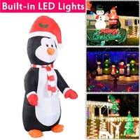 Costway 4 Ft Airblown Inflatable Christmas Xmas Penguin Decor Lighted Lawn Yard Outdoor