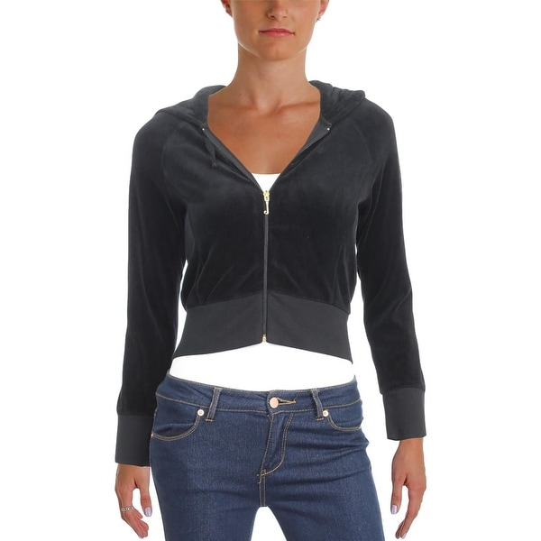 7583a5c1be11 Shop Juicy Couture Womens Hoodie Velour Cropped - Ships To Canada ...