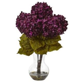 Nearly Natural Hydrangea with Vase Flower Arrangement
