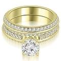 1.45 cttw. 14K Yellow Gold Knife Edge Matching Round Cut Diamond Bridal Set - Thumbnail 0