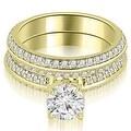 1.70 cttw. 14K Yellow Gold Knife Edge Matching Round Cut Diamond Bridal Set - Thumbnail 0