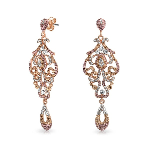 92f4351136 Vintage Style Pink Crystal Lace Chandelier Statement Prom Pageant Dangle  Earrings For Women Rose Gold Plated Alloy