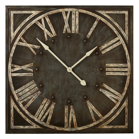 """36"""" Distressed Grey Rustic Styled Roman Numeral Analog Wall Clock"""
