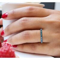 Prism Jewel 1/2Ct Round Blue Color Diamond Stackable Band, 2.55mm Wide