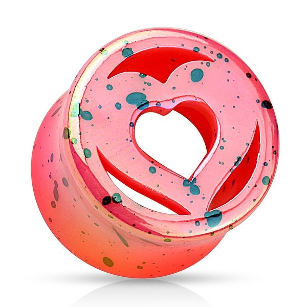 Pink Heart Splatter Double Flared Acrylic Saddle Fit Plug (Sold Individually)